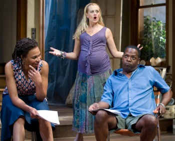 "Karen Aldridge (left) with Stephanie Childers and James Vincent Meredith in ""Clybourne Park."" (Michael Brosilow)"