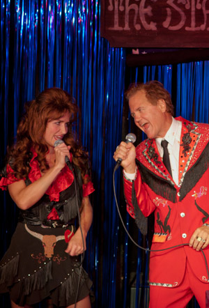 Jenny Littleton as Debbie and Bruce Arntson as Doyle in The Doyle and Debbie Show photo credit Doug Blemker Royal George Chicago 2011