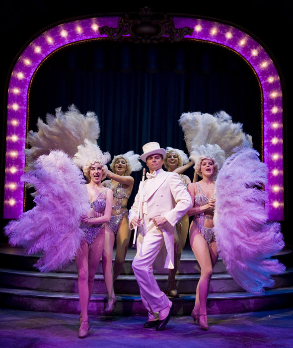 """Brent Barrett as Benjamin Stone (center) performs """"Live, Laugh, Love"""" with showgirls Jenny Guse, Christina Myers, Amanda Tanguay and Amanda Kroiss in Chicago Shakespeare Theater's production of James Goldman and Stephen Sondheim's Follies, directed by Gary Griffin and playing now through November 13, 2011. Photo by Liz Lauren."""