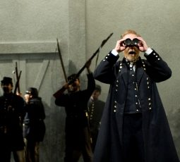 (front) General William Tecumseh Sherman (Harry Groener) and (right) Major Morrison (Cliff Chamberlain) watch the battle from afar with several other Union soldiers in Steppenwolf Theatre Company?s world-premiere production of The March, based on the novel by E.L. Doctorow, adapted and directed by ensemble member Frank Galati. The March runs April 5 ? June 10, 2012 in Steppenwolf?s Downstairs Theatre (1650 N Halsted St).