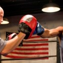 Guy Van Swearingen (left) as the trainer and Kamala Angelo Bolden as the fighter in Brett Neveu's The  Opponent credit Michael Brosilow