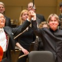 Yo Yo Ma and Esa-Pekka Salonen take bows after performing the Lutoslawski Cello Concerto with Chicago Symphony Orchestra 2013 credit Todd Rosenberg