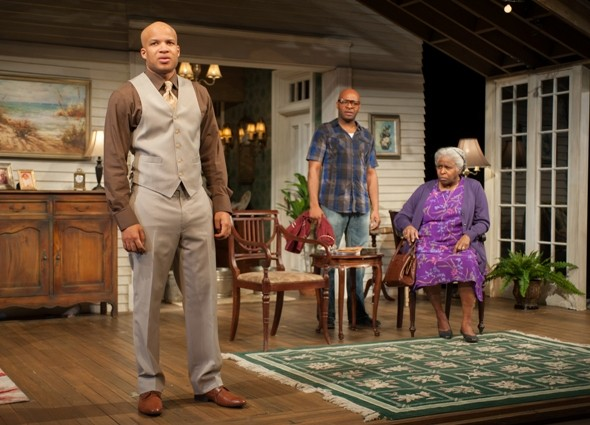 "Aubrey (Glenn Davis), and Spencer (James T. Alfred) talk with their mother Shelah (Cheryl Lynn Bruce) in ""Head of Passes"" by Tarell Alvin McCraney directed by Tina Landau Steppenwolf 2013 credit Michael Brosilow"
