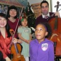 Civitas members Yuan-Qing Wu (violin), Kenneth Olsen (cello) and J. Lawrie Bloom (clarinet) with their favorite audience, hospitalized children (credit Civitas)