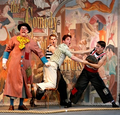 Madcap physical comedy is essential to the mix in 'The Comedy of Errors,' now in the parks, produced by Chicago Shakespeare Theater. Credit Chuck Osgood