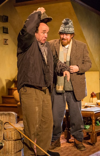 "Blind Richard (Brad Armacost, left) gets a steadying hand from Ivan (Ira Amyx) in ""The Seafarer"" at Seanachai Theatre. (Joe Mazza)"