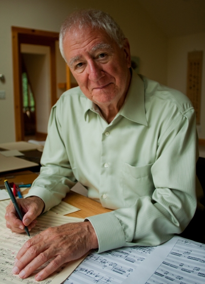 "Composer Bernard Rands, whose work ""...where the murmurs die..."" will be performed by the Chicago Symphony, at work in his studio (BernardRands.com)"