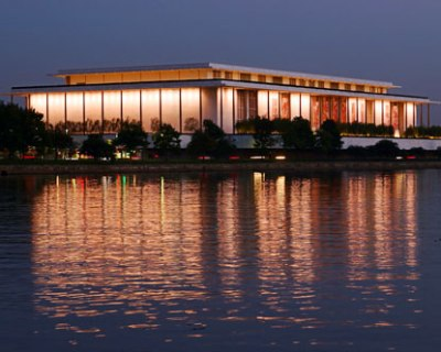 Kennedy Center, on the Potomac, at night