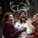 Mistresses Ford (Heidi Kettenring, left) and Page (Kelli Fox) with the antlered Falstaff (Scott Jaeck) at Chicago Shakespeare Theater. (Liz Lauren)