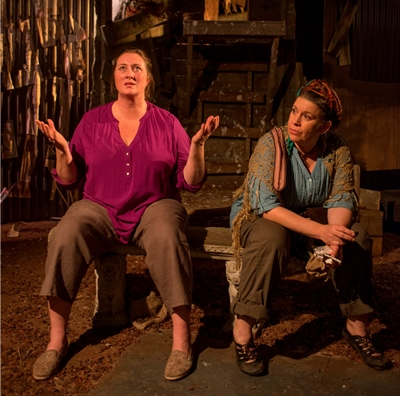Terese (Kirsten Fitzgerald, left) confides a hard truth to her longtime friend Hannah (Meighan Gerachis) in Zinne Harris' 'Solstice.' (Michael Brosilow)