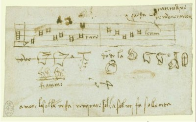 A rebus by Leonardo's hand - image flipped because he wrote in mirror image - from the Royal Collection UK (royalcollection.org.uk)