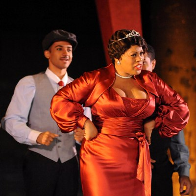 Karen Marie Richardson is a self-made millionaire and queen of beauty products in Harlem in 'Queenie Pie' by Duke Ellington at Chicago Opera Theater. (Liz Lauren)