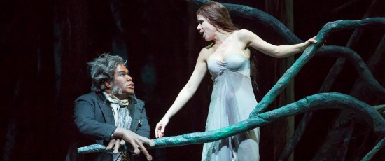 Rusalka (Ana  María Martínez) tells her father (Eric Owens) she wants to become human. (Todd Rosenberg)