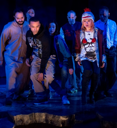 Everyone is staring into the abyss in 'Water by the Spoonful' at Court Theatre. (Michael Brosilow)