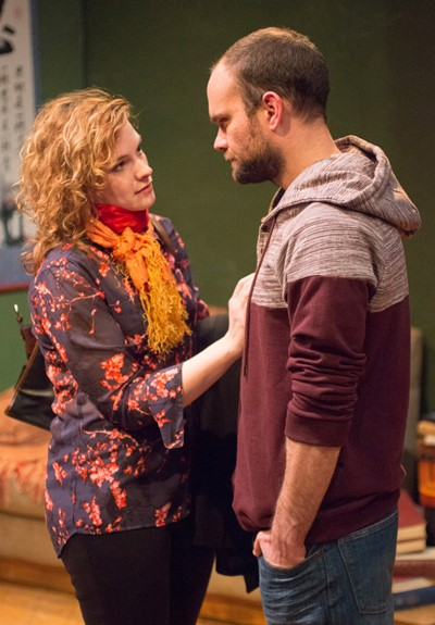 Kate (Mary Williamson) and Martin (Keith Neagle) share mixed feelings about their severe writing coach in 'Seminar.' (Dean LaPrairie)