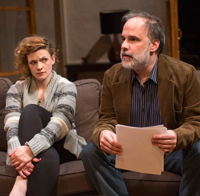 Kate (Mary Williamson) can't drag a word of praise out of mentor Leonard (Tom Hickey) in 'Seminar.' (Dean LaPrairie)