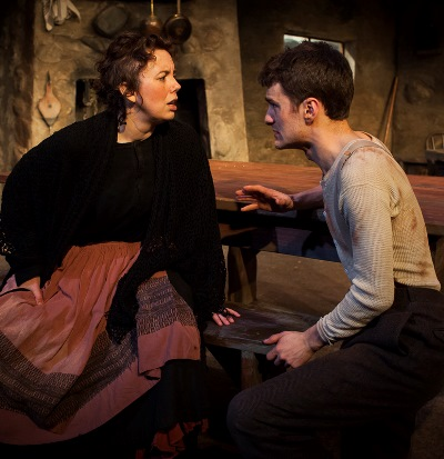 The young widow Quin (Sarah Hayes) sees Christy (Sam Hubbard) as the answer to her prayers. (Keith Claunch)