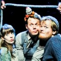 A bit of rope defines tight quarters for Molly (Megan Stern), her nanny (Benjamin Schrader) and Alf (Harter Clingman). (Jenny Anderson)