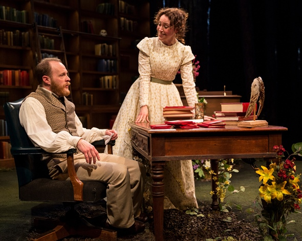 Darwin (Andrew White) and Emma (Rebecca Spence) quietly differ on the issue of evolution versus the influence of God. (Liz Lauren)