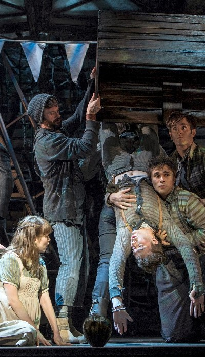 Molly (Megan Stern) discovers the boy with no name (Joey deBettencourt) aboard the Neverland in 'Peter and the Starcatcher.' (Terry Shapiro)