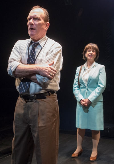 The coach (Karl Potthoff) and the mother (Maggie Cain) grapple with the meaning of a video. (Dean LaPrairie)