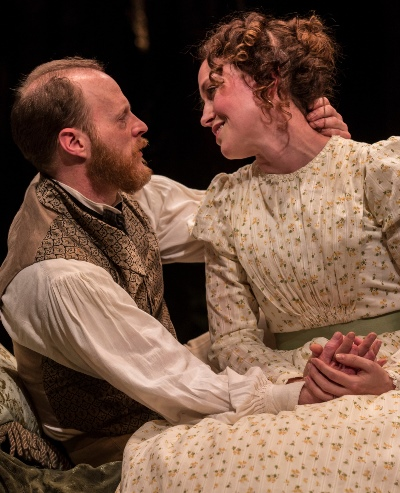 The newly wedded Darwins (Andrew White and Rebecca Spence) are happy as primordial clams. (Liz Lauren)