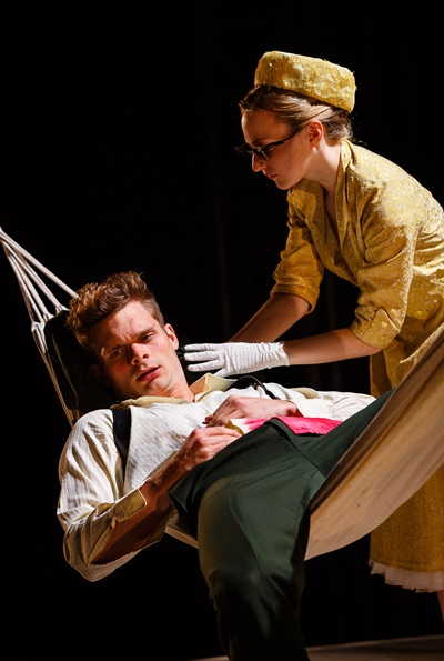 The wounded Tristan (Andrew Durand) is comforted by the second Yseult in his life (Carly Bawden). (Steve Tanner)