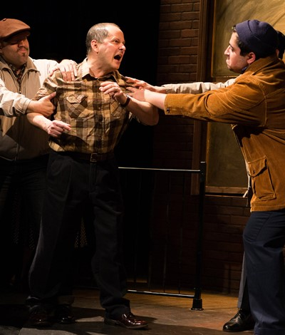 An angry Eddie (Ramon Camin, center) is restrained by Lipari (Joel Maisonet, left) and Louis (Todd Garcia). (Javier Maisonet)