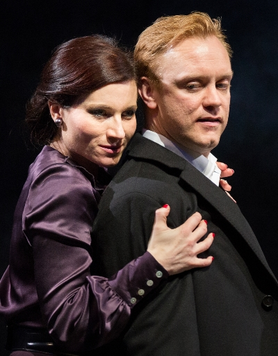 Lear's eldest daughter Goneril (Kate Fleetwood) takes a fancy to Gloucester's bastard son Edmund (Sam Troughton). (Mark Douet)