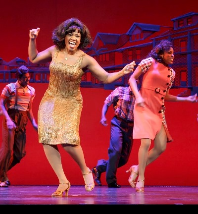 Patrice Covington as Martha Reeves with the cast of 'Motown the Musical.' (c) Joan Marcus, 2014