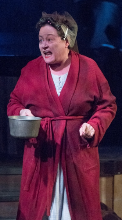 Mrs. Wire (JoAnn Montemurro) is the impetuous landlady of the rooming house. (Dean LaPrairie)