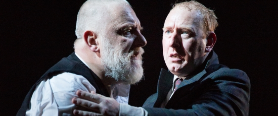 Simon Russell Beale (left) portrays King Lear with Adrian Scarborough as his Fool at the National Theatre. (Mark Douet)