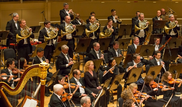 The Chicago Symphony horn section stands at the finale of Mahler's Symphony No. 1. June 2014 (Todd Rosenberg)