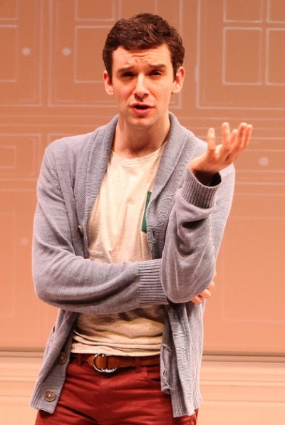 Alex (Michael Urie) explains his predicament in Jonathan Tolins' Streisand spoof 'Buyer & Cellar' at Broadway in Chicago 2014 (Sandra Coudert)