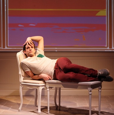 As Alex (Michael Urie) soon learns, it's Barbra who calls the shots in 'Buyer & Cellar' by Jonathan Tolin, now at Chicago's Broadway Playhouse. (Sandra Coudert)
