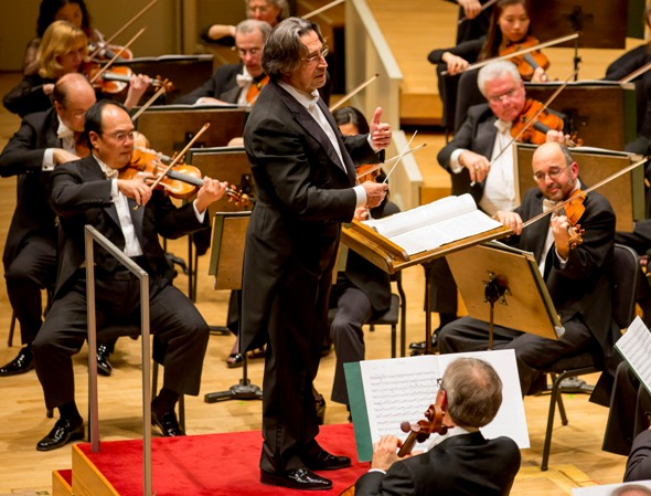 CSO music director Riccardo Muti listens to the Chicago Symphony as they perform together Schubert's Symphony No. 9. (Todd Rosenberg)