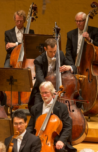CSO principal bass Alexander Hanna plays the solo opening of the third movement of Mahler's First Symphony. (Todd Rosenberg)