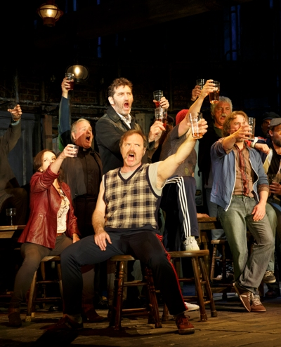 Jimmy Nail as shipyard foreman Jackie (standing, center) and the cast of 'The Last Ship' (Joan Marcus-Broadway in Chicago)