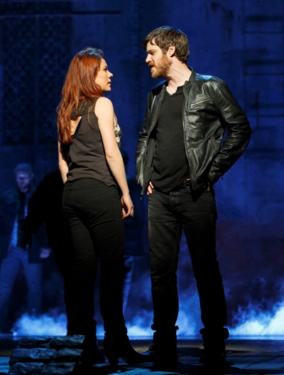 Rachel Tucker as Meg, with Michael Esper as Gideon, the lover who abandoned her 14 years earlier in 'The Last Ship.' (Joan Marcus)
