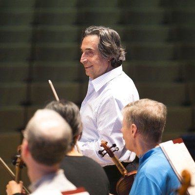 Riccardo Muti prepares to rehearse the Chicago Symphony while on tour in the Canary Islands, January, 2014. (Todd Rosenberg)