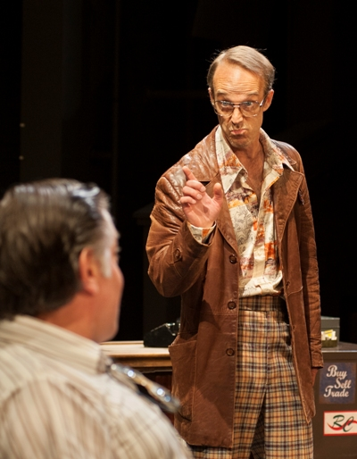 Teach (James Ridge) points out a fact to Donny (Brian Mani) in 'American Buffalo' by David Mamet at American Players Theatre. (Zane Williams)