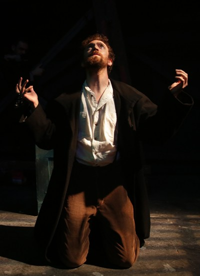Charles Guiteau (Gret Foster) sings 'I am going to the Lordy' while awaiting the hangman's noose in 'Assassins' by Sondheim and Weidman at Kokandy Productions. (Joshua Albanese)