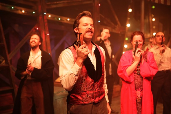 Eric Lindahl as John Wilkes Booth in Stephen Sondheim and John Weidman's 'Assassins' with fellow killers in the cast at Kokandy Productions 2014 (Joshua Albanese)