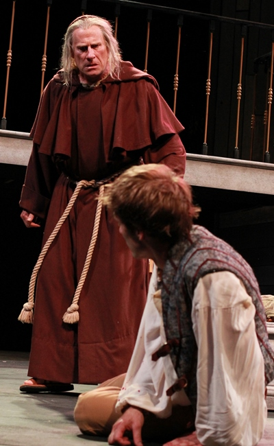 Friar Laurence (John Pribyl) scolds Romeo (Christopher Sheard) for wallowing in his misery. (Carissa Dixon)