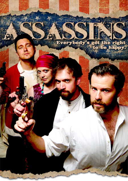 Front to back assassins and wannabes - Booth (Erick Lindahl), Giteau (Greg Foster), Fromme (Allison Hendrix) and Byck (Jason Richards) in Kokandy's 'Assassins.'