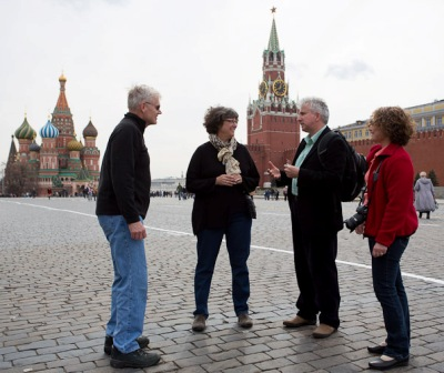 Martha Gilmer, second from left, on tour in Moscow's Red Square with the Chicago Symphony.