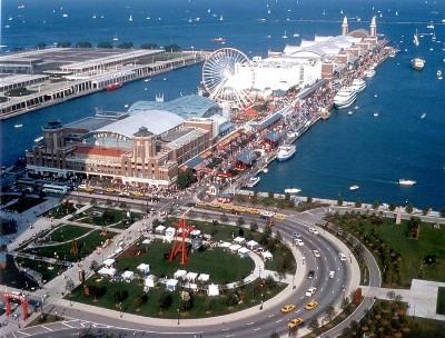 Chicago Shakespeare Theater is located midway along Navy Pier on the Lake Michigan waterfront.