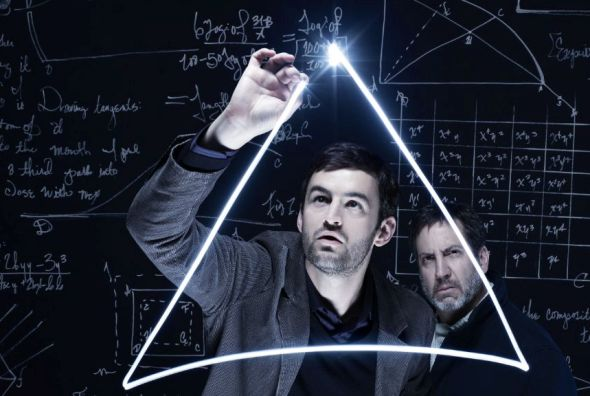 Jürgen Hooper and Marc Grapey do the math in 'Isaac's Eye' at Writers Theatre.  (Saverio Truglia)