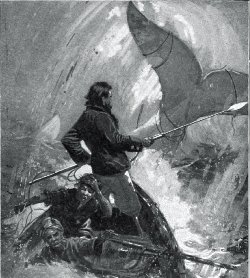 'Moby Dick swam swiftly round and round the wrecked crew,' detail from illustration in the I.W. Taber edition of Melville's novel. (Via Wiki)