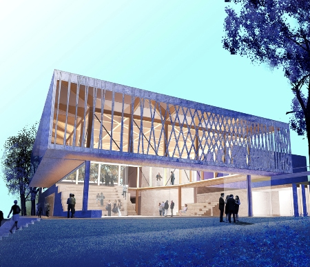 The new Writers Theatre (architectural rendering, Studio Gang Architects)